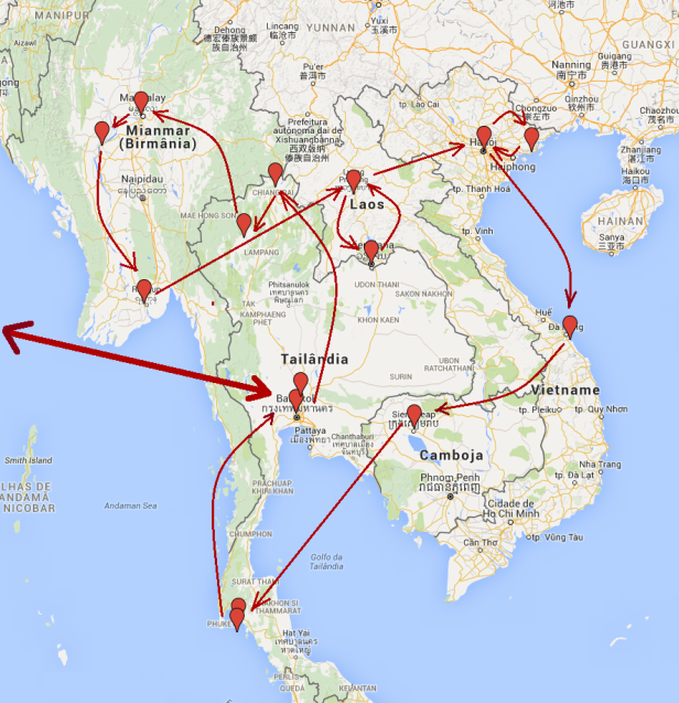 Roteiro sudeste asiatico com setas